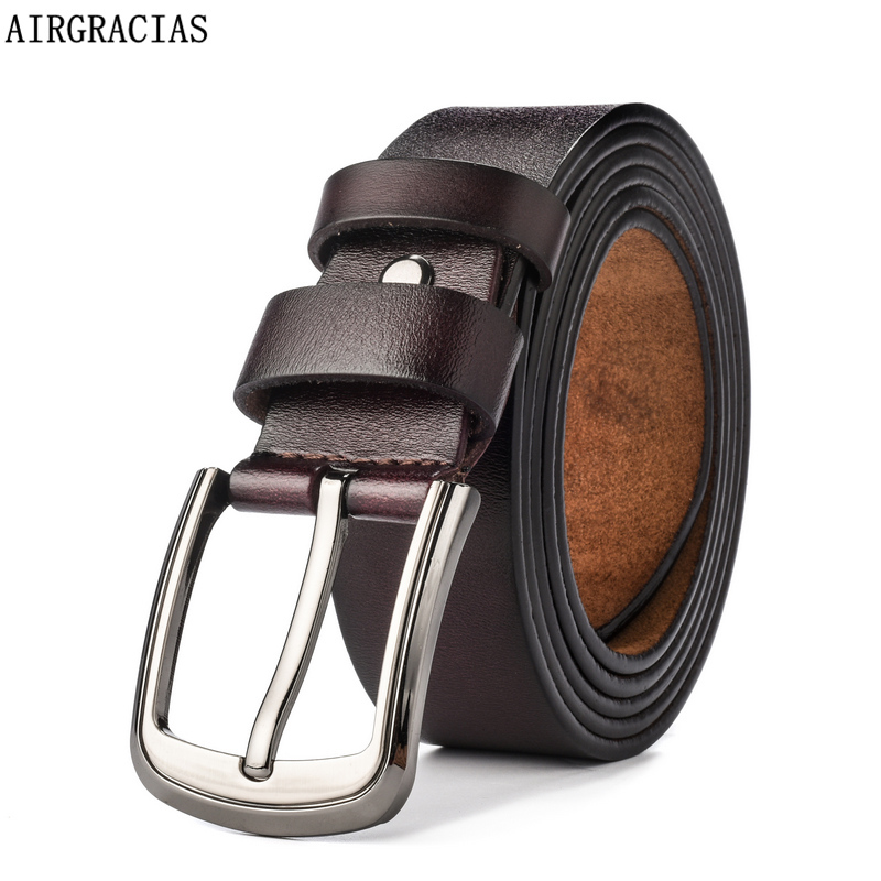 AIRGRACIAS 2018 Designer   Belts   Men High Quality Genuine Leather   Belt   Luxury Man Military Style Pin Buckle   Belts   140 150 160 CM