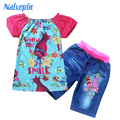 Summer Children Trolls Clothing for Kids Clothing Sets Girls Cartoon Clothes Suits t shirts and jeans shorts Pants for child