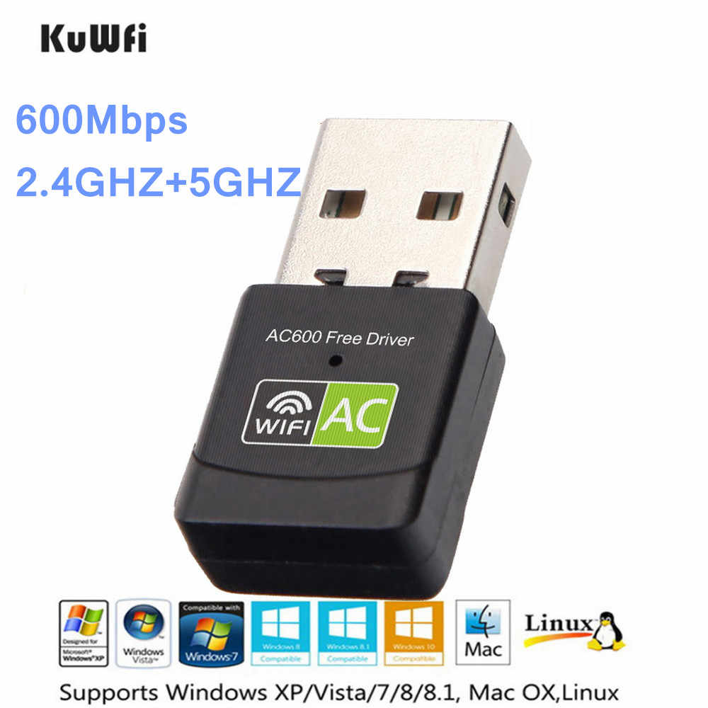 KuWfi Free Driver Wireless USB Wifi Adapter 600Mbps USB Ethernet 2.4G 5G Dual Band Wi-fi Network Card 802.11n/g/a/ac