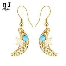 BOJIU Gold Moon Star Drop Dangle Earrings For Women Boho Eardrop Ear Hook Pendant Earring Jewelry Christmas Valentine Gift EA045