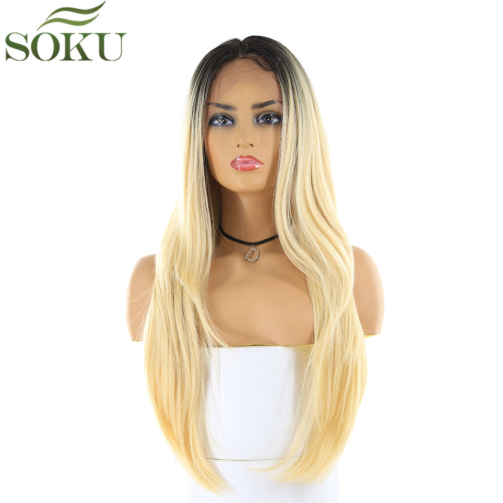 Synthetic 13*4 Lace Front Wigs SOKU 26 Inch Straight 150% Density Dark Root 613 Color Wig High Temperature Fiber Wig For Women