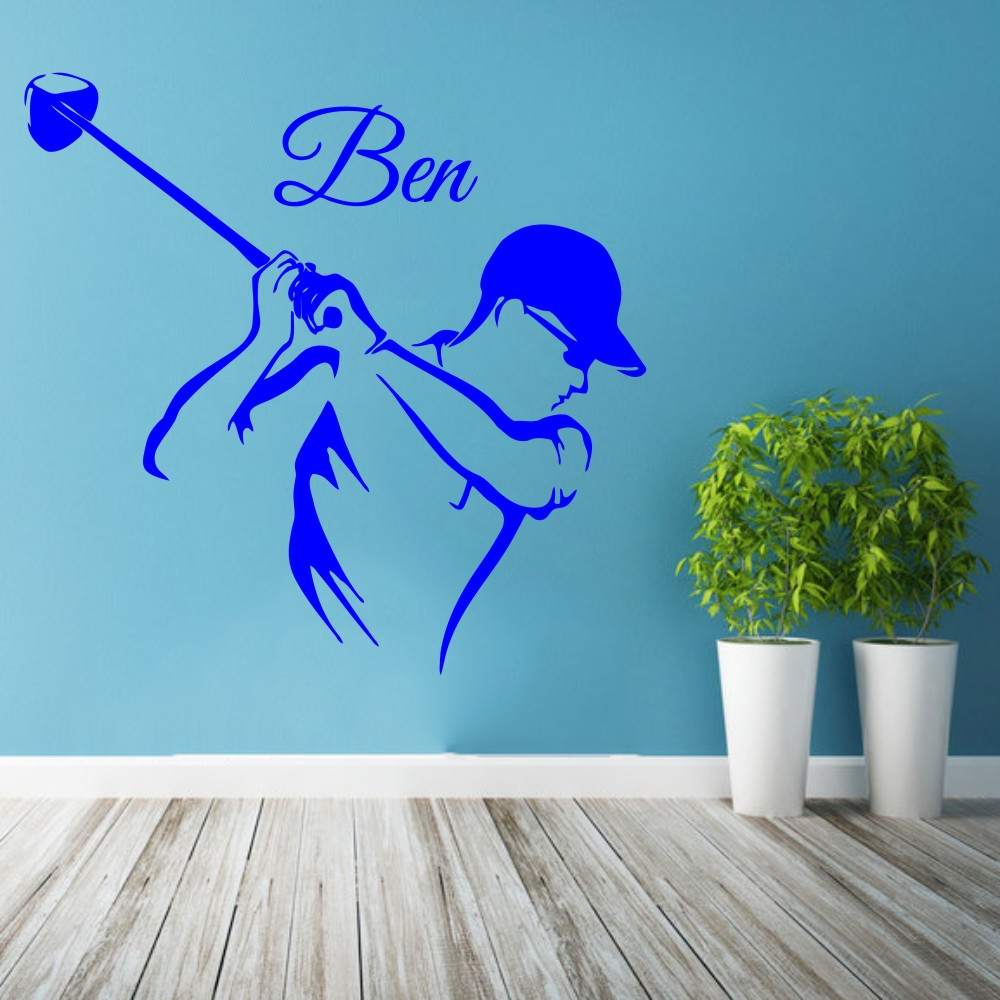 Wall Sticker Golf Player Sport Vinyl Nursery Custom Personalized Name Kids Boy Room Removable Decal Poster DIY Decoration WW 159 in Wall Stickers from Home Garden