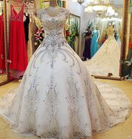 N615 Fashionable Scoop Cap Sleeves Ball Gown Luxury Wedding Dress 2018 Bridal Gown Bride Dress In Dubai Style Woman Summer New