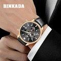 Мужчины Хронограф Черный Кожаный Ремешок Золото Бизнес Часы Кварца Людей Luxury Brand Спортивные Часы Relogio Masculino Часы