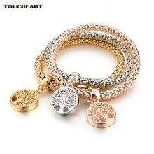 Toucheart Классические Золотые ажурные браслеты и с деревом