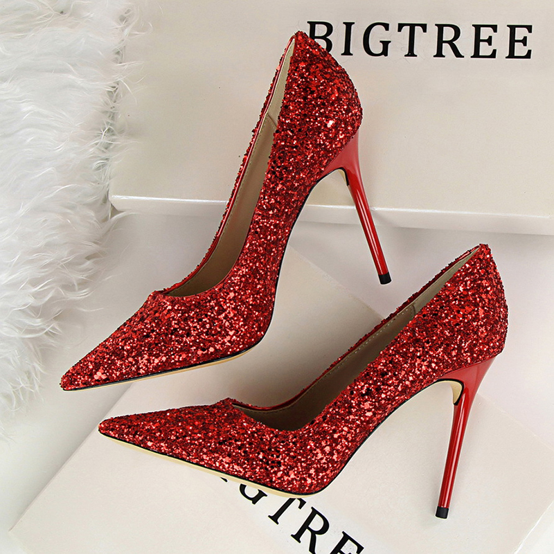 Women Pumps Fashion High Heels Wedding Party Bling Women Heels Glitter Female Pumps Shoes Woman Red Gold Sliver Stiletto 9219-1