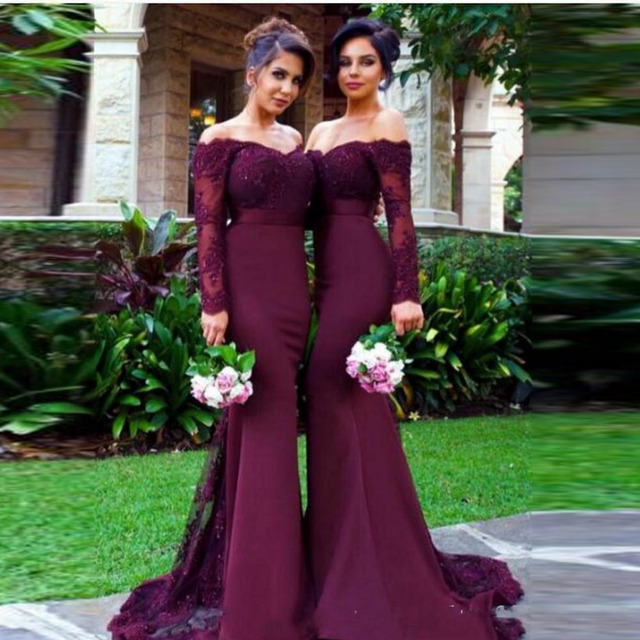 Sexy Dark Plum Mermaid Long Honor Of Main Brdesmaid Dresses Lace Formal Party Dress Lace Long Sleeves C-neck Long Gowns 2016