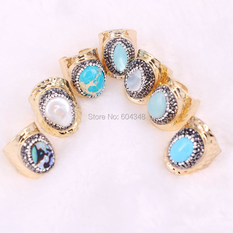 10pcs ZYZ131-3134 Nature Pearl Shell Rings, Pave Crystal Zircon Assorted Stone Cuff Rings, Statement Rings