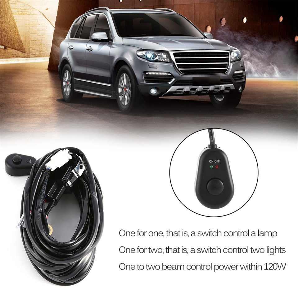 Professional 12V 40A LED HID FOG Work Driving Light Wiring Loom Harness Switch Relay for 120W-300W for Indoor & Outdoor Use