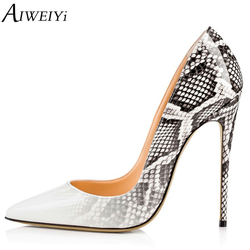 AIWEIYi 2018 NEW Women's Pumps Pointed Toe Snake Print Women Shoes Sexy Stiletto High Heels Party Wedding Shoes Woman aiweiyi 2018 summer women shoes pointed toe stiletto high heel pumps dress shoes high heels gold transparent pvc shoes woman