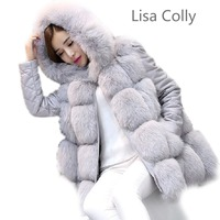 2016 New Brand Faux Fur Coat With Hooded Women Plus Size 8 Colours Faux Fur Jacket
