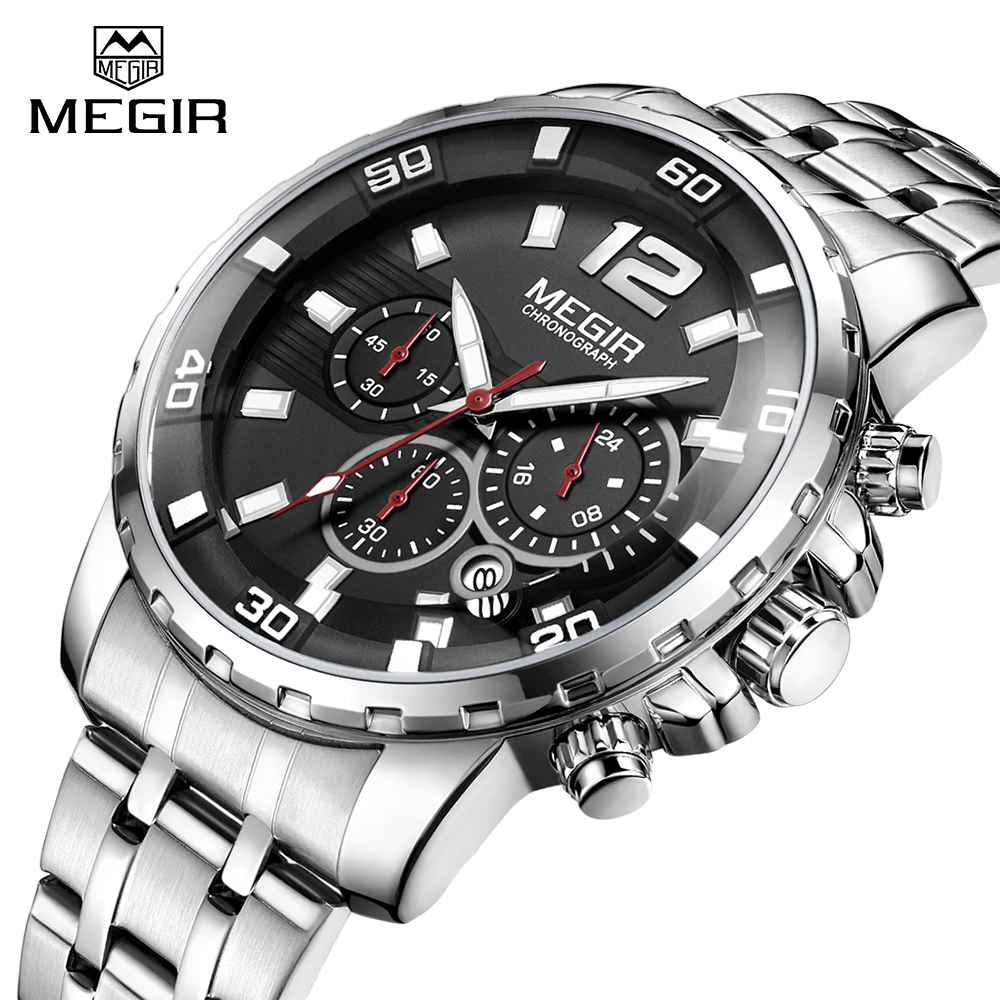 MEGIR Luxury Brand Mens Sports Chronograph Watch Men Army Military Clock Man Waterproof Quartz Wrist Watches Relogio Masculino luxury brand pagani design waterproof quartz watch army military leather watch clock sports men s watches relogios masculino