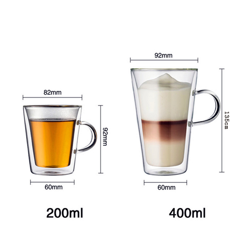 200ml 400ml Handmade Heat Resistance Clear Double Wall Glass Coffee Mug Tea  Milk Juice Cup WaterBeer Drinking Mug Drinkware