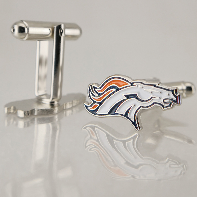 Newest Sports Cufflinks Jewelry American Football Major League Denver Broncos Bronze Enamel Cufflinks For Fan Sports Gift