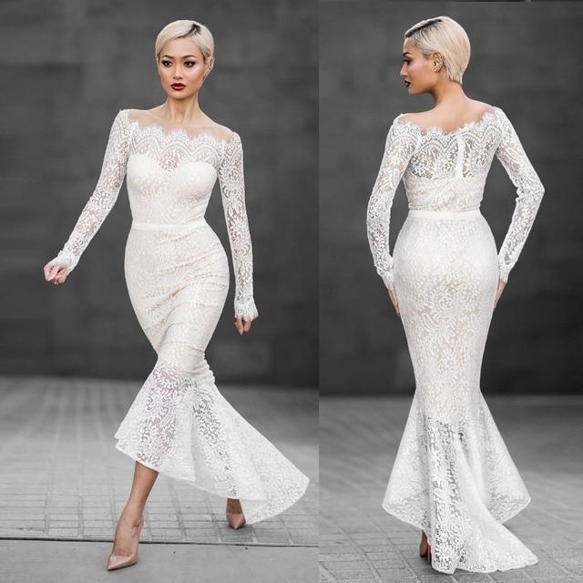 Frauen Elegante 1950 s Vintage Spitze Kleid Ausgestattet Slash Neck ...