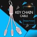 3 en 1 usb data sync cable cargador llavero para iphone 5 5S 6 s 6 plus samsung s6 s7 edge s5 s4 android teléfonos fecha líneas
