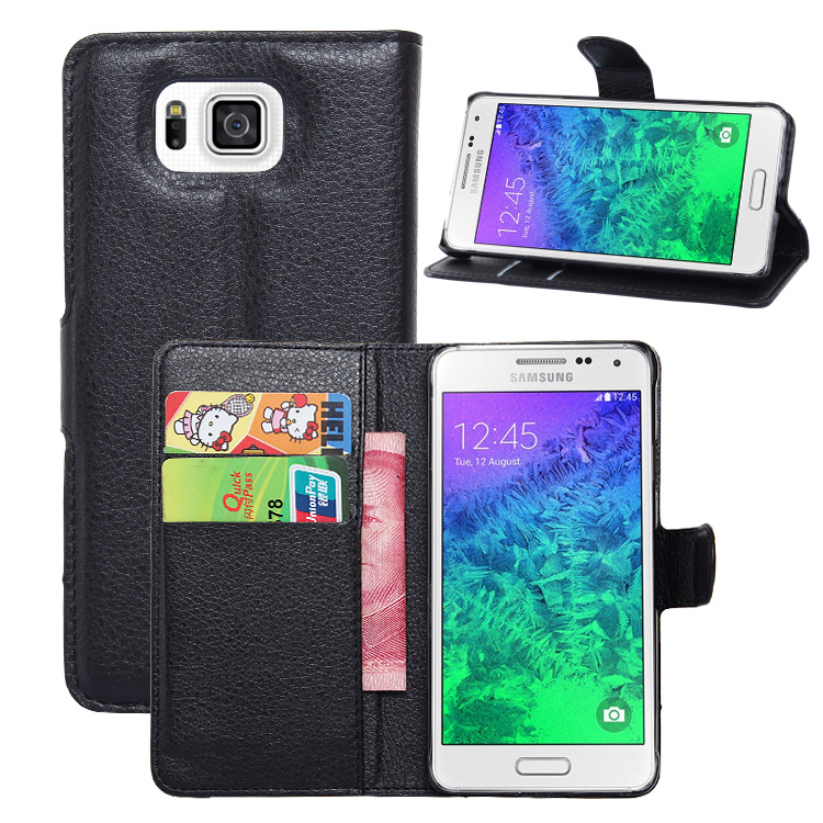 <font><b>Original</b></font> PU Leather Wallet Case For <font><b>Samsung</b></font> <font><b>Galaxy</b></font> Alpha G850F Phone Bag <font><b>Cover</b></font> With Stand Function And Visa Card Slot Simple Red image