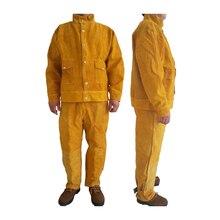 Защитная сварочная куртка из коровьей кожи и длинные штаны, защитная пайка на заказ, 500 градусов, термостойкая GM1014