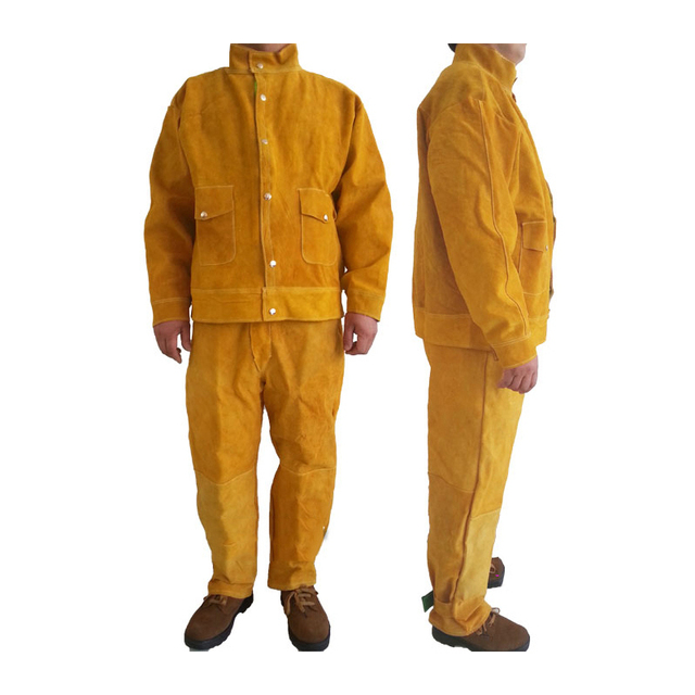 מעיל ומכנסיים ארוכים מגן הלחמה ריתוך בטיחות עור פרה 500 מעלות חום עמיד GM1014 Custome