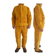 Cow Leather Safety Welding Jacket &Long Pants Protective Soldering Custome 500 Degree Heat Resistant GM1014
