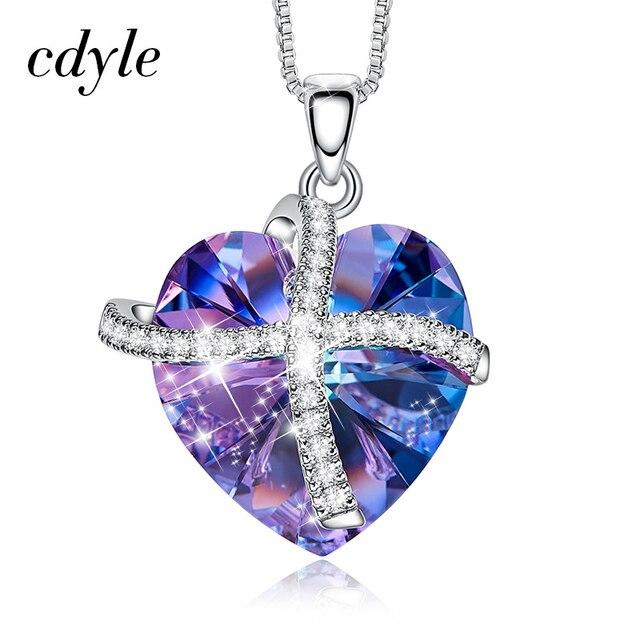 Cdyle Colar Pingente Coração de Cristal Embelezado com cristais de Swarovski Vulcão Pingente Mulheres Presente Do Amor Collier du ras cou