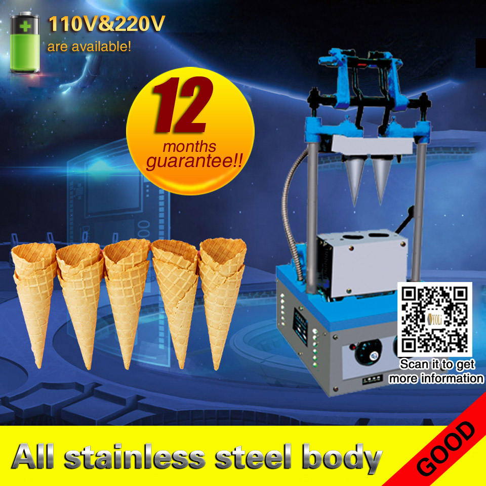 Ice Cream Cone Machine Commercial Snow Cone Machine Stainless Steel Body 50-60pcs /h