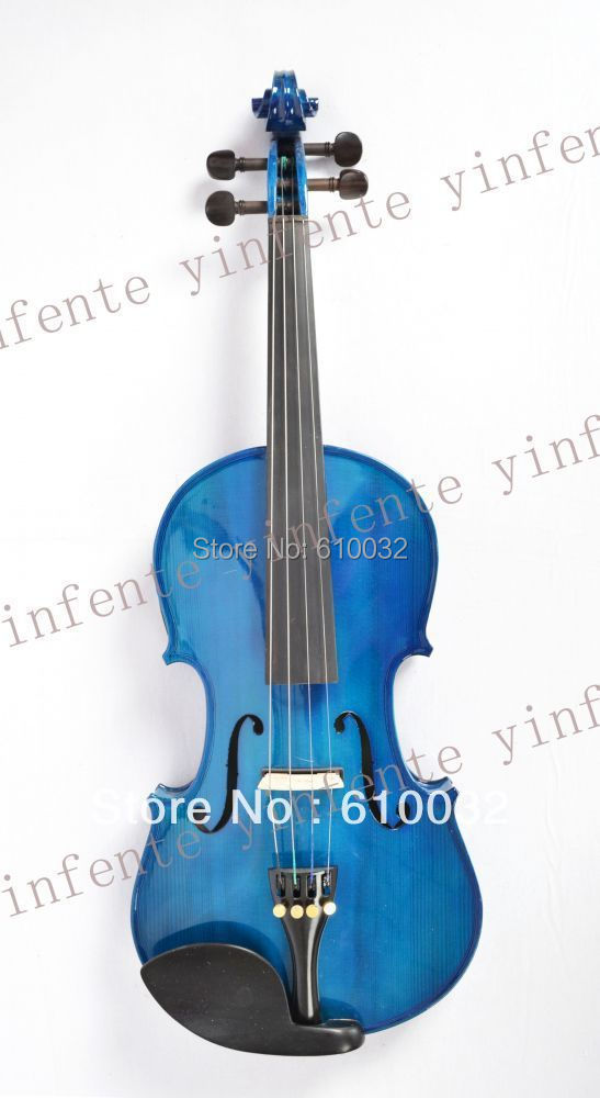 blue  color 4/4 New 4 string Electric Acoustic Violin Solid Wood Nice Sound new 4 string 4 4 electric acoustic violin patent silent fine sound 1