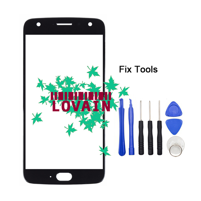 """LOVAIN 1PCS Black Blue For Motorola Moto X4 XT1900 Front Glass Lens 5.2"""" Touch Screen LCD Outer Panel Replacement Part+Tools"""