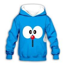 цена на Cartoon Nobita Nobi kawaii Doraemon 3D printed Kids blue hoodies sweatshirt fashion baby boy girl hoodie streetwear set pullover