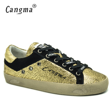 CANGMA Italian Designer Vintage Oman Casual Shoes Autumn Handmade Patent Leather Golden Bass Breathable Sneakers Women Shoes