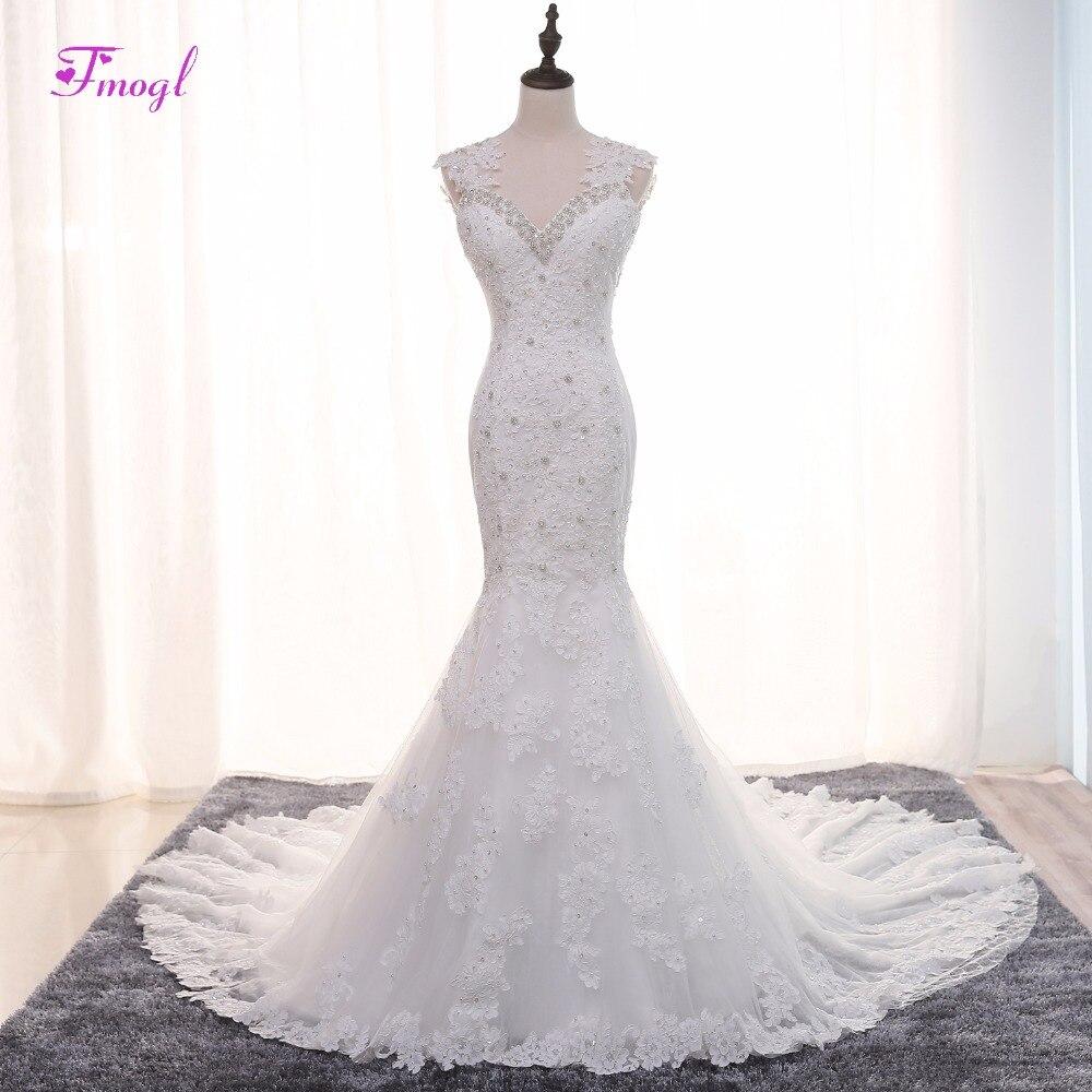 Fmogl Luxury Beaded Sweetheart Crystal Mermaid Wedding Dress 2018 Gorgeous Appliques Pearls Trumpet Bride Gown Robe De Mariage