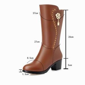 Image 3 - GKTINOO Botas de invierno hasta la rodilla para mujer, calzado cálido con piel de lana en el interior, zapatos de tacón alto de piel suave, Botas de nieve con plataforma