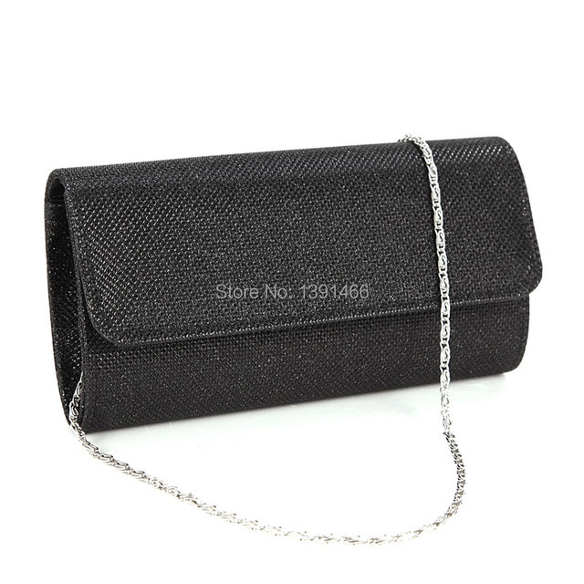 e3930882b8e Negro Plateado Dorado Cartera de Fiesta con Glitter Tartan Bolso de Mano  con Cadena