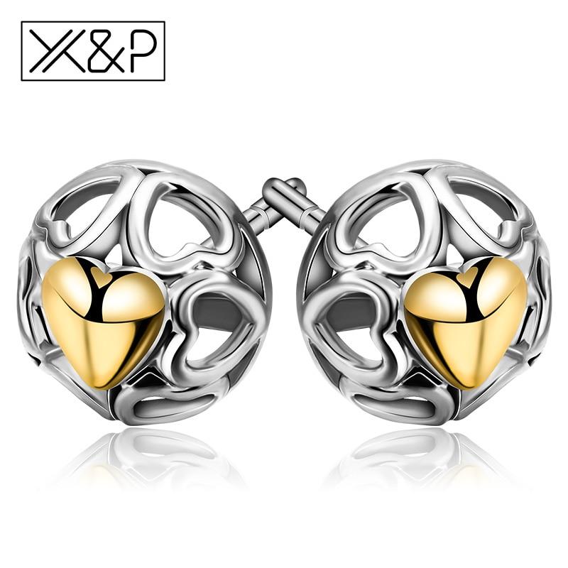 X&P Fashion Elegant 925 Silver Fine Openwork Heart Stud Earrings for Women Girl My One True Love Earrings Jewelry Gift