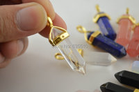 1pc Natural Semi Precious Stone Pillar Pendant Gold Plating Bail Cap Fashion Jewelry Clear Crystal Cherry