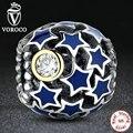 VOROCO Nueva Colección 925 Sterling Silver Deep Azul Cielo de La Noche estrella Del Encanto Fit Pandora Pulsera DIY Despejan CZ Jewelry Making S175