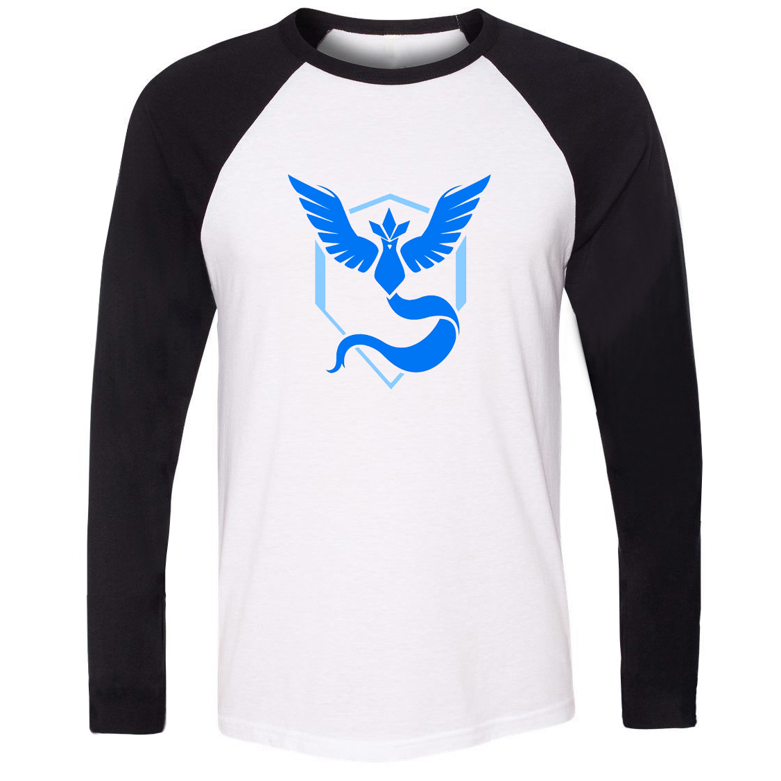 New Hot Unisex T-shirt Pokemon Go Game Fans Articuno Team Blue Team Pattern Raglan Long Sleeve Men T shirt Boy print Tee Tops