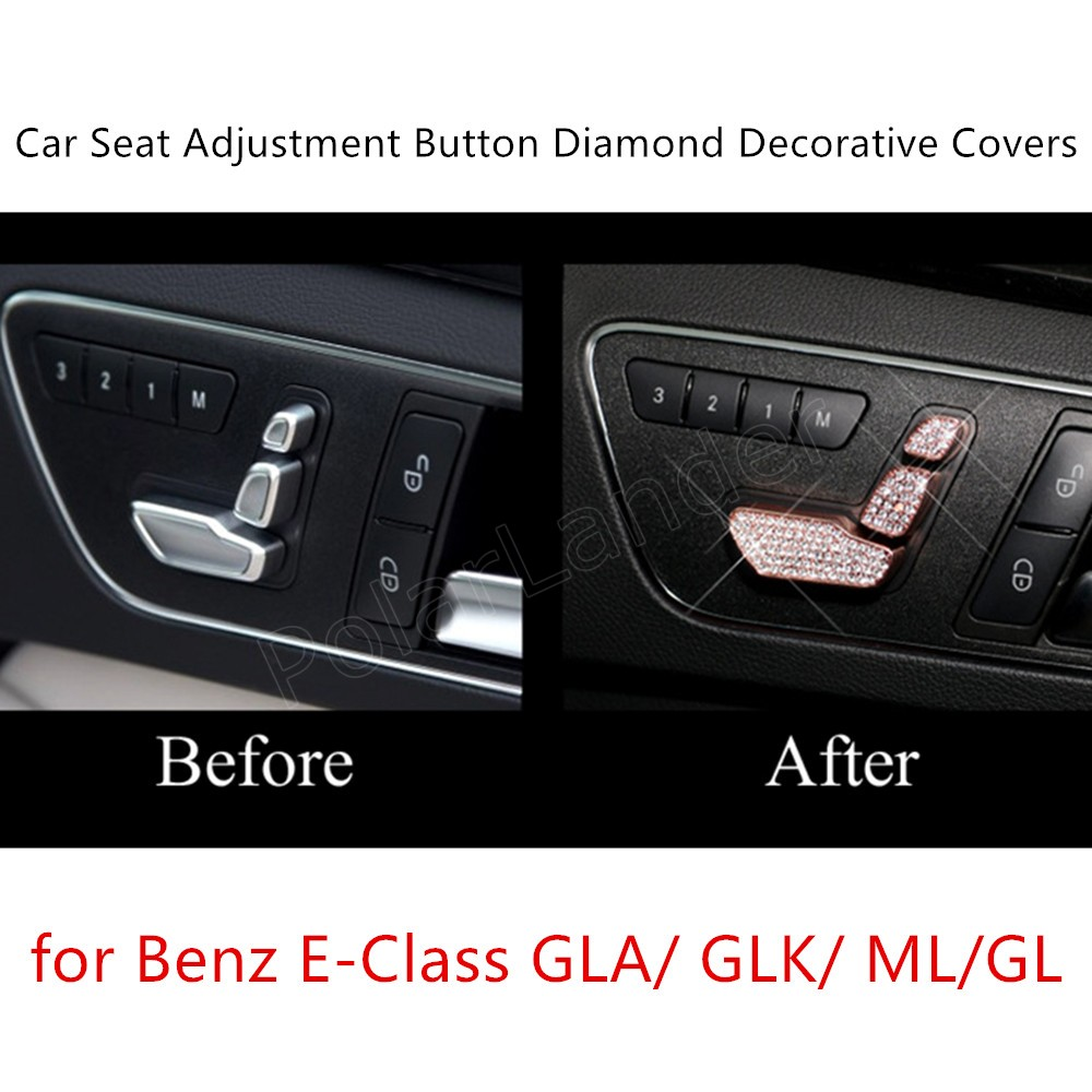 For M-ercedes For B-enz E-Class GLA/GLK/ML/GL S/eat Adjustment Cover Sticker Interior Diamond Decoration 6 Pieces 3 Colors