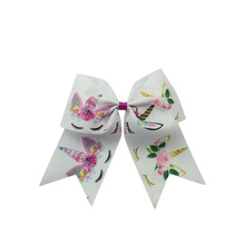 Adogirl 6 PCS 7 Unicorn Flowers Print Handmade Hair Bands Girls Cheerleading Bows Custom Different Colors Clips Headwear
