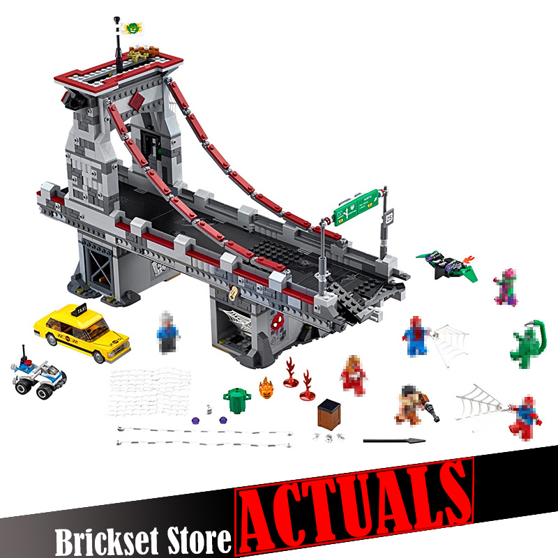 LEPIN 07038 1165Pcs Marvel DC Super Heroes Spiderman Web Warriors Bridge Ultimate Battle figures Avengers Superheroes Toys 76057 свитер lacoste lacoste la038emvvo85
