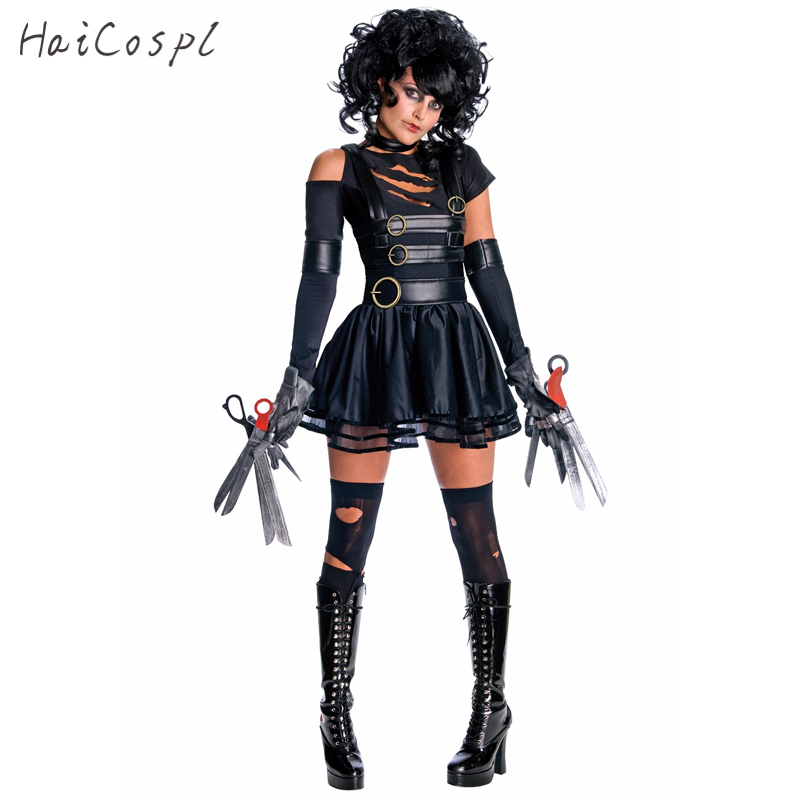 Movie Edward Scissorhands Cosplay Costumes For Adult Women Halloween Party Disguise Female Fancy Dress Role Play Games Wear