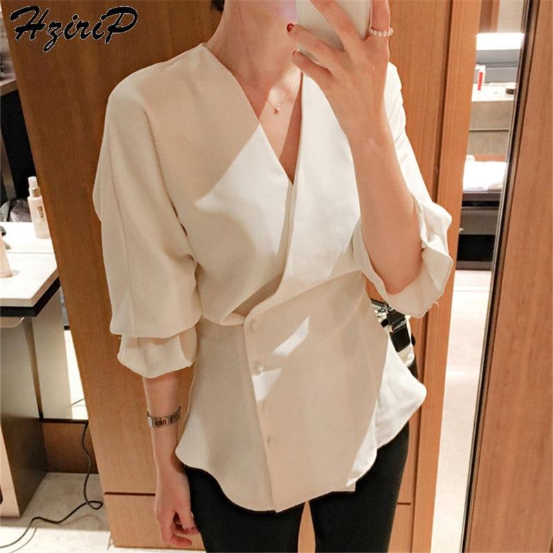 Hzirip Sweet Korea 2019 Summer Loose Casual Solid Cross Female Office Ladies Long Sleeves V-Neck Fresh Fashion Free White Shirts