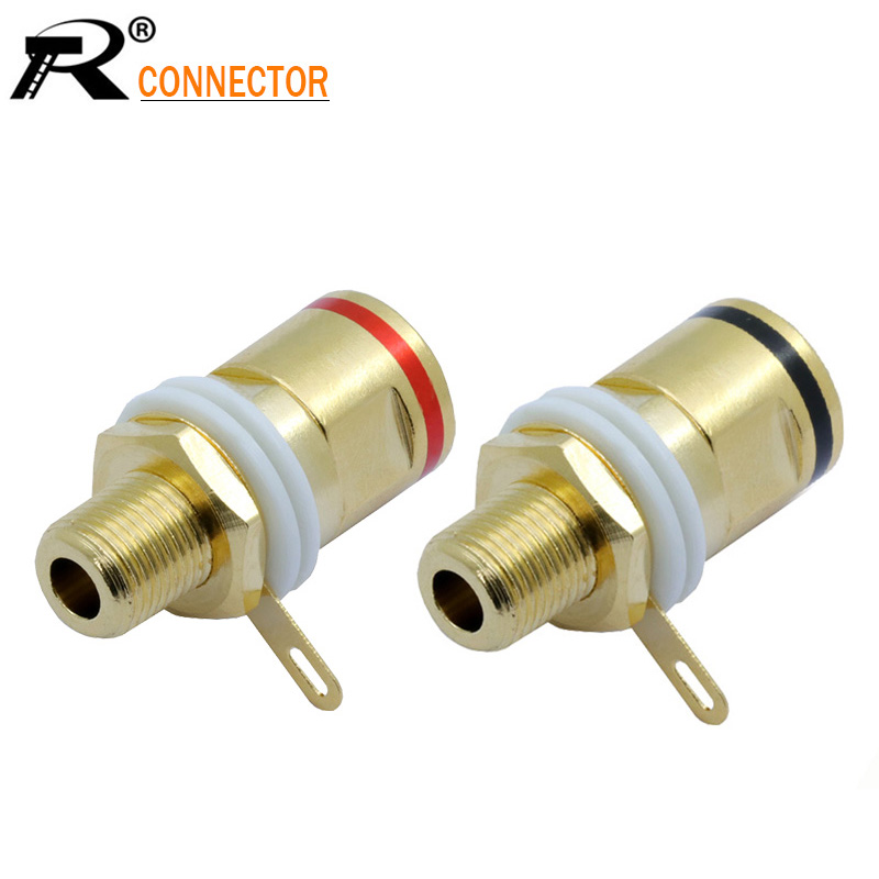 100PCS High quality Copper Gold plated Connector Speaker banana plug BINDING POST terminal banana socket for Speaker Amplifier цена