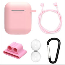5pcs Silicone Protective Cover Set Combination i9s Earphone bag Wireless Earphone Anti-Lost Rope Earplugs Sleeve for Airpods(China)
