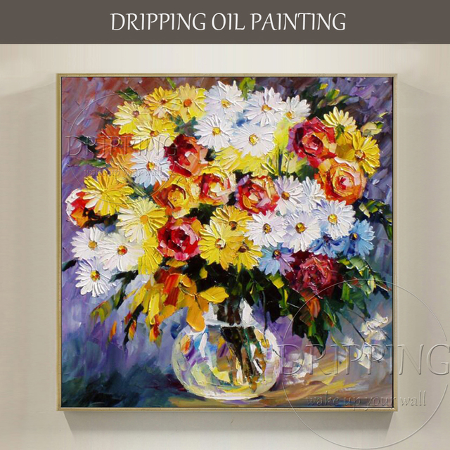 Artist Hand Painted Beautiful Vase Flower Oil Painting On Canvas