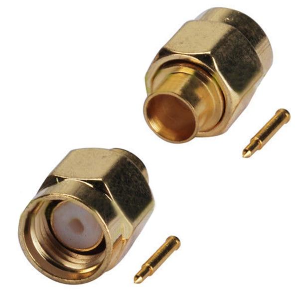 10x SMA штекер припоя RF коаксиальный разъем для полужесткого RG402 0,141 дюйма кабель золотой