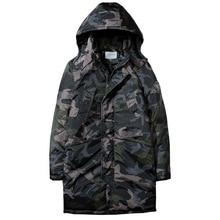 Мужские Длинные Стильные камуфляжные зимние парки с капюшоном, куртки с воротником, мужская одежда 115