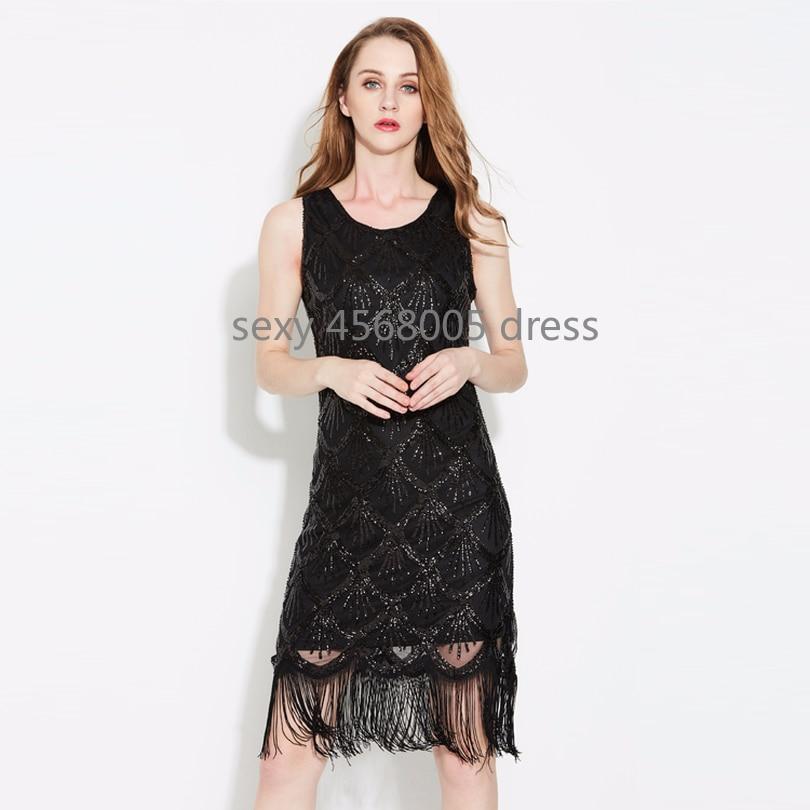 46ab94e12b00 Women's Roaring 1920s Fish Scale Sequin Beading Fringe Gatsby Flapper Party  Dress Vintage Sleeveless Tassel Little Black Dress