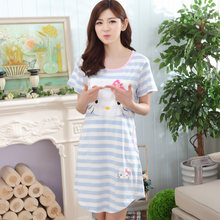 ab7fd0ff4f Spring Summer Stripes Nightgown Women s Blue Nightgowns Sleepshirts Cartoon  Cat Nightdress Cute Girl Sleepwear Women Dresses(