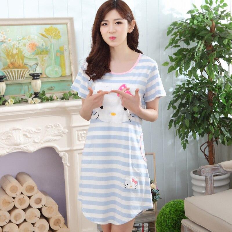 Spring Summer Stripes Nightgown Womens Blue Nightgowns&Sleepshirts Cartoon Cat Nightdress Cute Girl Sleepwear Women Dresses